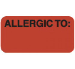 Allergy Warning Labels, ALLERGIC TO: - Fl Red, 1-1/2&#34 X 3/4&#34 (Roll of 250)