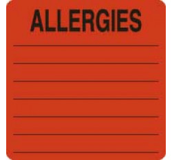 Allergy Warning Labels, ALLERGIES - Fl Red, 2-1/2&#34 X 2-1/2&#34 (Roll of 500)