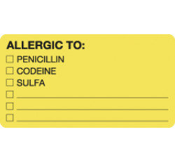 Allergy Warning Labels, ALLERGIC TO: - Fl Chartreuse, 3-1/4&#34 X 1-3/4&#34 (Roll of 250)