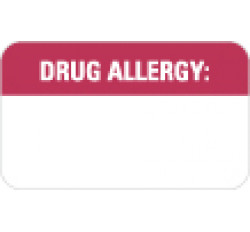Allergy Warning Labels, Drug Allergy: - Red/White, 1-1/2&#34 X 7/8&#34 (Roll of 250)