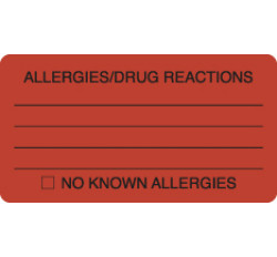 Allergy Warning Labels, ALLERGIES/DRUG REACTIONS - Fl Red, 3-1/4&#34 X 1-3/4&#34 (Roll of 250)