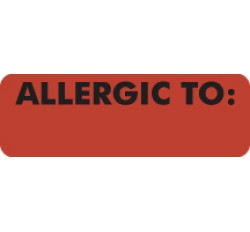 Allergy Warning Labels, ALLERGIC TO: - Fl Red, 3&#34 X 1&#34 (Roll of 250)