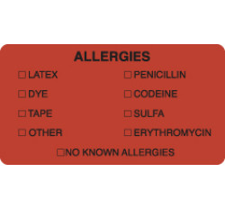 Allergy Warning Labels, ALLERGIES - Fl Red, 3-1/4&#34 X 1-3/4&#34 (Roll of 250)