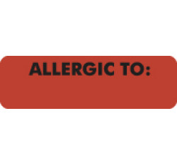 Allergy Warning Labels, ALLERGIC TO: - Fl Red, 2 1/2&#34 X 3/4&#34 (Roll of 300)