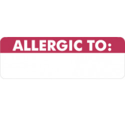 Allergy Warning Labels, ALLERGIC TO - Red/White, 3&#34 X 1&#34 (Roll of 250)