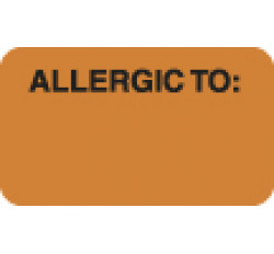 "Allergy Warning Labels, ALLERGIC TO: - Fl Orange, 1-1/2"" X 7/8"" (Roll of 250)"