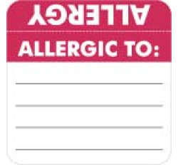 Allergy Warning Labels, ALLERGIC TO: - Red/White (Wrap Around) 2&#34 X 2&#34 (Roll of 250)