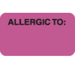 Allergy Warning Labels, ALLERGIC TO: - Fl Pink, 1-1/2&#34 X 7/8&#34 (Roll of 250)