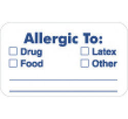 Allergy Warning Labels, ALLERGIC TO: - White, 1-1/2&#34 X 7/8&#34 (Roll of 250)