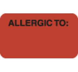 Allergy Warning Labels, ALLERGIC TO: - Fl Red, 1-1/2&#34 X 7/8&#34 (Roll of 250)
