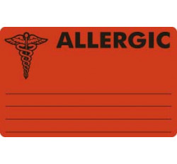 Allergy Warning Labels, ALLERGIC - Fl Red, 4&#34 X 2-1/2&#34 (Roll of 100)