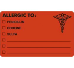 Allergy Warning Labels, ALLERGIC TO: - Fl Red, 4&#34 X 2-1/2&#34 (Roll of 100)