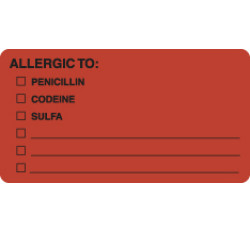 Allergy Warning Labels, ALLERGIC TO: - Fl Red, 3-1/4&#34 X 1-3/4&#34 (Roll of 250)