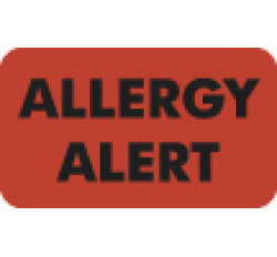 Allergy Warning Labels, Allergy Alert - Fl Red, 1-1/2&#34 X 7/8&#34 (Roll of 250)