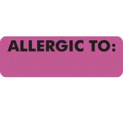 Allergy Warning Labels, ALLERGIC TO: - Pink, 3&#34 X 1&#34 (Roll of 250)