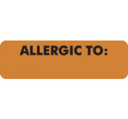 Allergy Warning Labels, ALLERGIC TO - Fl Orange, 2 1/2&#34 X 3/4&#34 (Roll of 300)