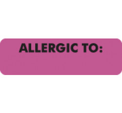 Allergy Warning Labels, ALLERGIC TO: - Pink, 2 1/2&#34 X 3/4&#34 (Roll of 300)
