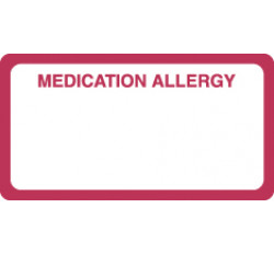 Allergy Warning Labels, MEDICATION ALLERGY - Red/White, 3-1/4&#34 X 1-3/4&#34 (Roll of 250)