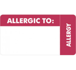 Allergy Warning Labels, ALLERGIC TO: - Red/White (Wrap Around), 3-1/4&#34 X 1-3/4&#34 (Roll of 250)