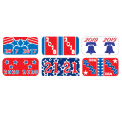 Year Labels - PATRIOT GBAY Series Laminated 500/roll 2018 2019 2020 2021 2022