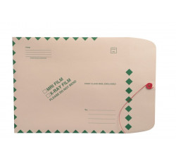 "X-Ray Film Mailers, 11 pt Manila, 11"" x 13"", Green Diamond Border, String and Butt..."