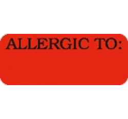 Allergy Warning Labels, ALLERGIC TO: - Fl Red, 1-7/8&#34 X 3/4&#34 (Roll of 500)