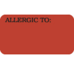 Allergy Warning Labels, ALLERGIC TO: - Fl Red, 1-5/8&#34 X 7/8&#34 (Roll of 500)