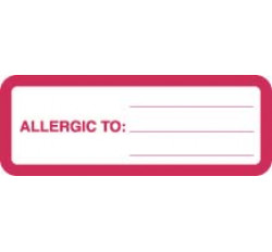 Allergy Warning Labels, ALLERGIC TO: - Red/White, 3&#34 X 1-1/8&#34 (Roll of 320)