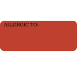 Allergy Warning Labels, ALLERGIC TO: - Fl Red, 2-1/4&#34 X 7/8&#34 (Roll of 420)